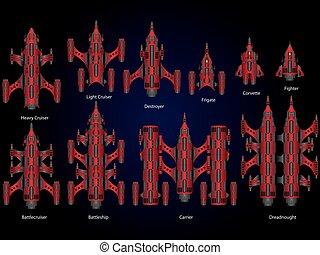 Video game space ship - Vector video game space ship fleet...