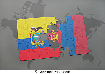puzzle with the national flag of ecuador and mongolia on a...