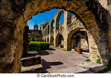 Spanish Mission San Jose, Texas - A View Through an Arch of...