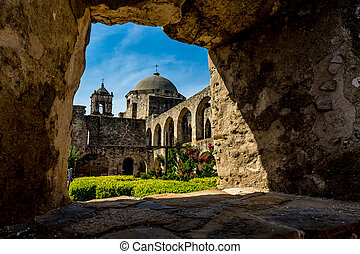 Spanish Mission San Jose, Texas - A Stone Window View of the...