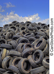 Old Tyres Hill - Pile of Old Tyres for Recycling