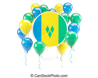 Round flag of saint vincent and the grenadines with balloons...