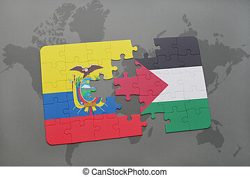 puzzle with the national flag of ecuador and palestine on a...