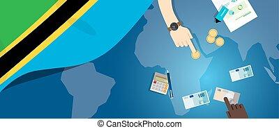 Tanzania economy fiscal money trade concept illustration of...