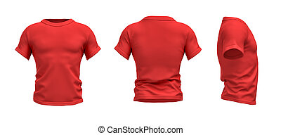 3d rendering of a red T-shirt shaped as a realistic male...