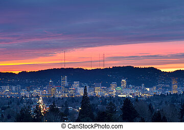 Colorful sunset over City of Portland - Dramatic colorful...