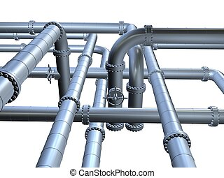 3d pipeline - 3d rendered illustration of metal pipes