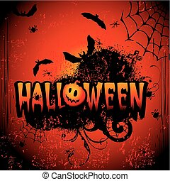 Halloween night. Vector art-illustration on a red...