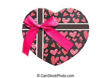 Red heart shape gift box isolated on white background.