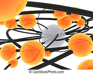 abstract balls - 3d rendered illustration of balls and pipes...