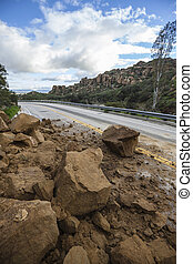 Landslide Blocking Los Angeles Canyon Road - Storm related...