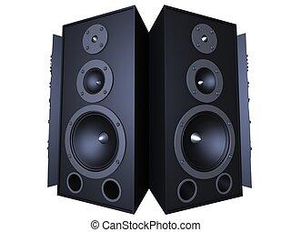 3d speaker - 3d rendered illustration of isolated black...