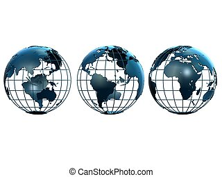 metal globes - 3d rendered illustration of three blue metal...