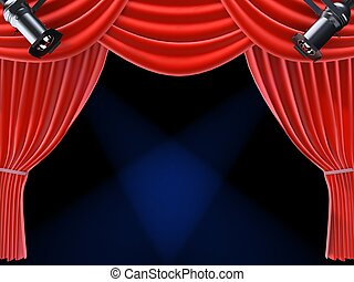 spotlight and curtain - 3d rendered illustration of a red...