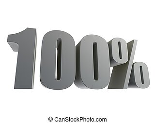 100% - 3d rendered illustration of grey numbers