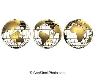 3d globes - 3d rendered illustration of three golden globes