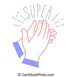 Icon clapping hands with the text Super Icon in the linear...