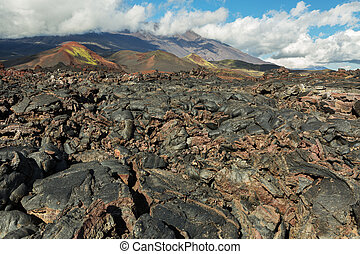 Lava field at Tolbachik volcano, after eruption in 2012 on...