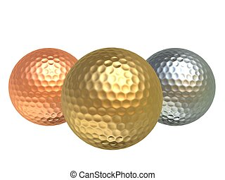 golfballs - 3d rendered illustration of a bronce, silver and...