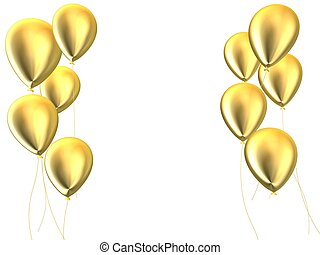 golden balloons - 3d rendered illustration of some golden...