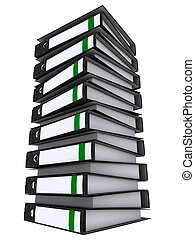 binders  - 3d rendered illustration from a tower of binders