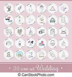 Vector set with wedding icons and elements