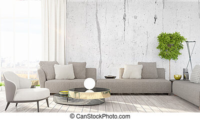 Modern bright interior . 3D rendering