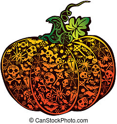 Halloween pumpkin Vector art-illustration on a white...