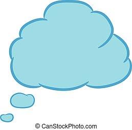 Cloud thought blue with trim of vector illustration