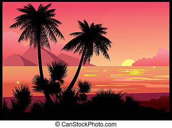 Beach. - Silhouettes of palms on a sea background.Vector...