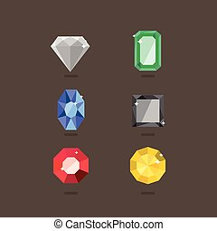 Set of jewel in flat style. Vector illustration