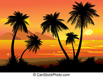 Sunset. - Silhouettes of palms on a sea background. Vector...