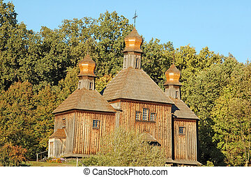 Antique wooden church in Pirogovo, Kiev, Ukraine