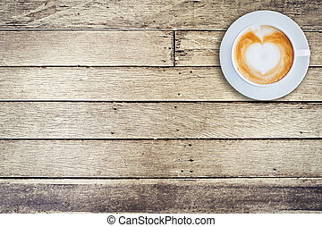 Top view coffee mug on wood background with space.