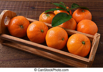 Crate Mandarin Oranges - Closeup of a small crate of...