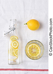 Bottle of Lemon Water and Glass