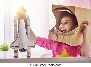 girl in an astronaut costume - Child girl in an astronaut...