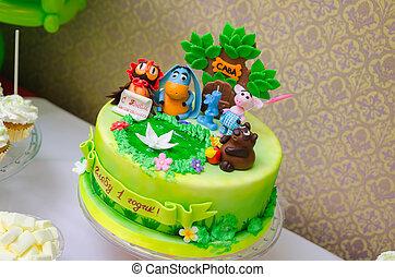 作られた,  birthday, おいしい, 子供, ケーキ, パーティー