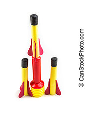 Child's toy rocket isolated on a white background