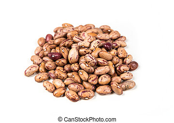 Organic cranberry beans isolated on a white background