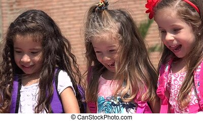 Adorable Children Girls Having Fun