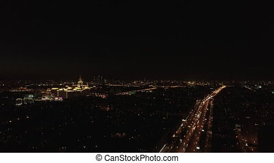 Aerial night view of the Leninsky Avenue, Moscow, Russia....