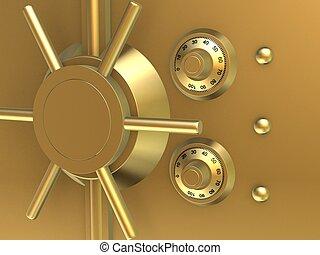 golden vault  - 3d rendered illustration of a golden lock