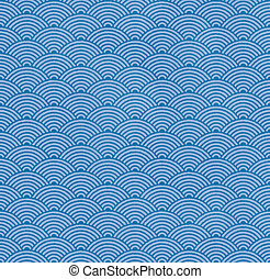 Japanese traditional wave pattern - Blue Japanese...