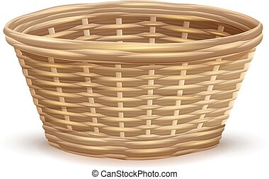 Empty wicker basket without handles. Isolated on white...