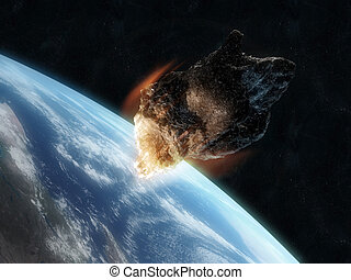 armageddon - 3d rendered illustration of an asteroid infront...