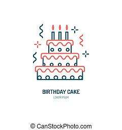 Birthday cake line icon. Vector logo for bakery, party...