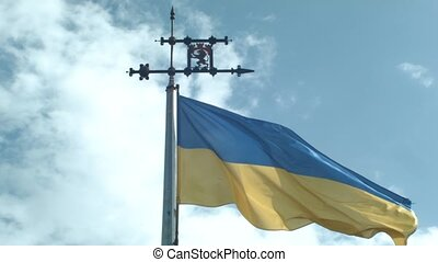 Ukranian Flag On The Old Tower Of Lvvov