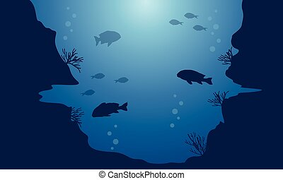 Landscape of fish on blue sea background silhouettes