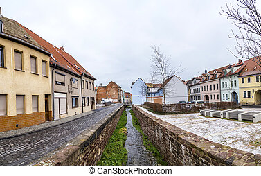 panoramic view to buildings in Eisleben, Germany without...